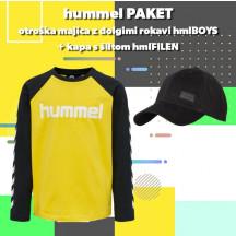 PAKET - otroška majica z dolgimi rokavi hmlBOYS + kapa s šiltom hmlFILEN