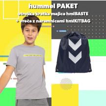 PAKET - otroška majica s kratkimi rokavi hmlBASTE + vreča z naramnicami hmlKITBAG
