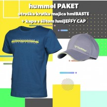 PAKET - otroška majica s kratkimi rokavi hmlBASTE + kapa s šiltom hmlJEFFY CAP